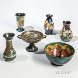Six Gouda Pottery Items
