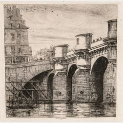 Charles Meryon (French, 1821-1868)      Two Impressions of Le Pont Neuf