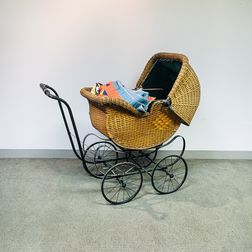 Iron and Wicker Baby Carriage
