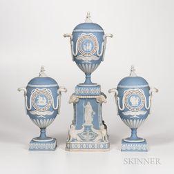 Three-piece Wedgwood Tricolor Jasper Garniture