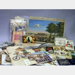 Miscellaneous Lot of Postcards, Valentines, Trade Cards, and Two Glass Advertising   Slides