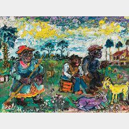 David Davidovich Burliuk (Ukrainian/American, 1882-1967)      Rural Florida Farm Scene with Figures and Goats