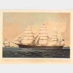 """Nathaniel Currier, publisher (American, 1813-1888)    Clipper Ship """"Great Republic.,"""""""