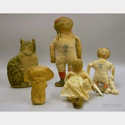Group of Printed Cloth Dolls and a Cat