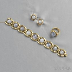 14kt Gold and Star Sapphire Bracelet and Ring, Raymond Yard