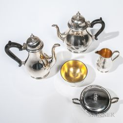 """Five-piece Tiffany & Co. Sterling Silver """"Queen Anne"""" Pattern Tea and Coffee Service"""