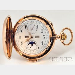 Gold Minute Repeating Calendar and Chronograph Pocket Watch