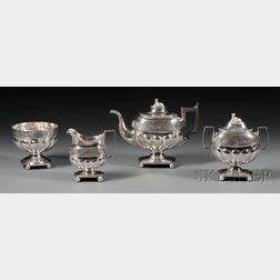 Late Federal Four-piece Coin Silver Tea Service