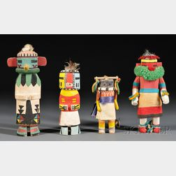 Four Polychrome Carved Wood Kachinas