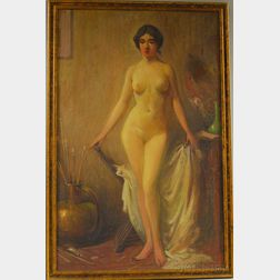 Herbert Cyrus Farnum (American, 1866-1925)      Standing Nude in a Studio Interior.