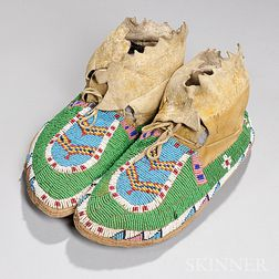 Ute Beaded Hide Youth's Moccasins