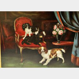 Continental School, 20th Century       Portrait of Two King Charles Spaniels.