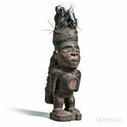 Yombe-style Carved Wood Nkisi Power Figure