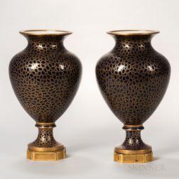 Pair of Sevres-style Cobalt Blue Vases