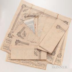 Twenty-five 1863 Confederate $500 and $100 Bonds