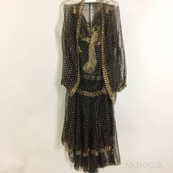 Black and Gold Dress with Evening Jacket