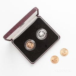 Two 1958 British Gold Sovereigns and 1995 Proof Two-coin Sovereign and Pound Set.     Estimate $600-800