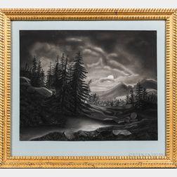American School, Mid-19th Century      Moonlit Mountain Landscape