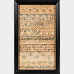 "Needlework Sampler ""Hannah A. Pike,"""