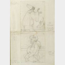 Eugene Berman (American, 1899-1972)  Lot of Two Costume Sketches for Pulcinella