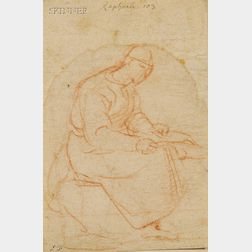 Lot of Two Old Master Drawings:      Manner of Raffaello Sanzio (Italian, 1483-1520), Seated Figure