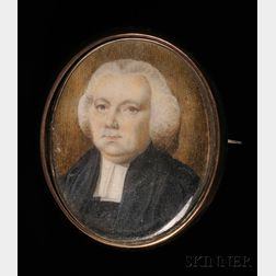 Portrait Miniature of a Clergyman, with Memorial on Reverse