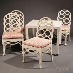 "Four ""Loop"" Chairs after Frances Elkins (1888-1953) and a Card Table"