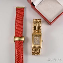 Lady's Boucheron 18kt Gold and Diamond Wristwatch and Bracelet