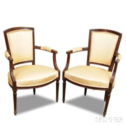 Pair of Louis XVI Carved Beechwood Upholstered Fauteuil