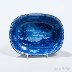 Staffordshire Historical Blue Transfer-decorated Tappan Zee from Greensburg Vegetable Dish
