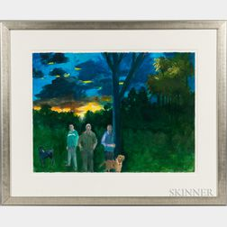 Paul Wonner (American, 1920-2008)      Walk in the Park