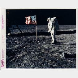 Apollo 11, Buzz Aldrin with the American Flag.