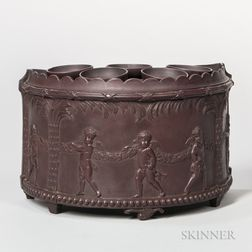 Brown Stoneware Crocus Pot and Cover