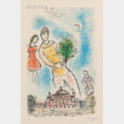 Marc Chagall (Russian/French, 1887-1985)      Dans le ciel de l'Opéra