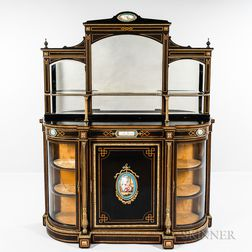 Second Empire-style Ebonized Mahogany and Ormolu- and Porcelain-mounted Etagere