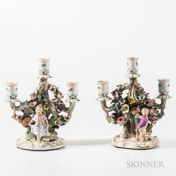 Two Similar Meissen Porcelain Three-light Figural Candelabras