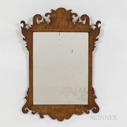 Chippendale Carved and Gilt Tiger Maple Mirror