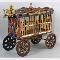 Carved and Painted Wooden Cole Brothers Small Animal Circus Wagon