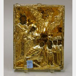 Orthodox Christian Gilt-metal Mounted Painted Wooden Icon.