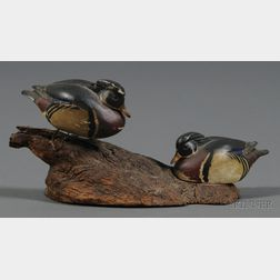 Two Carved and Painted Miniature Wood Duck Figures