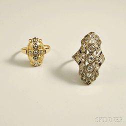 Two Art Deco Diamond Rings