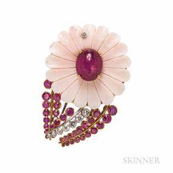 Ruby and Diamond Flower Brooch