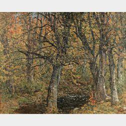 John Joseph Enneking  (American, 1841-1916)      New England Wood and Stream, Fall