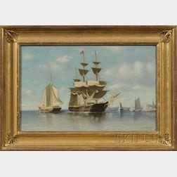 William Henry Coffin (Massachusetts, 1812-1898)      Harbor Scene with Distant Lighthouse.