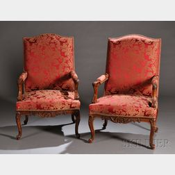 Pair of Regence-style Upholstered Walnut Fauteuils