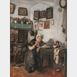 Frank Convers Mathewson (American, 1862-1941)      Interior, Godshuis de la Fontaine, Bruges