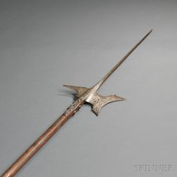 Iron Halberd with Wooden Haft