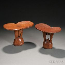 Two African Carved Wood Headrests