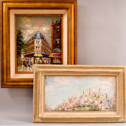 American School, 20th Century    Two City Landscapes: Abstract