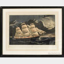 Nathaniel Currier Hand-colored Lithograph Clipper Ship Dreadnought Off Tuskar Light